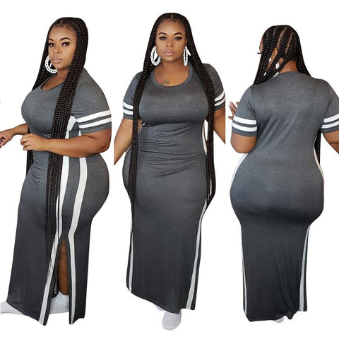 Heysweeta Women Dress Casual Dress Split Dress Plus size Dress