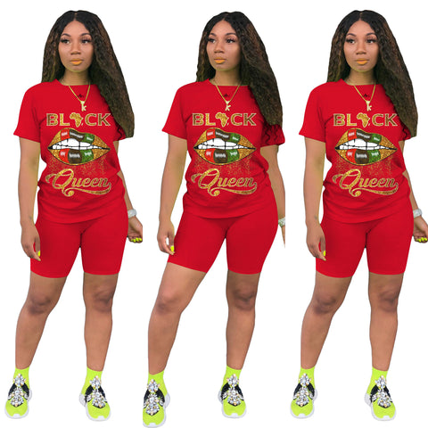 Heysweeta Women T-shirt and Shorts Two Pieces Outfits