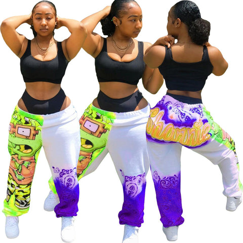 Heysweeta  2020 Printing Women Pants Casual Pants