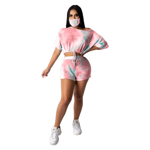 Heysweeta  Women Crop Tops and Shorts and Face Mask Three Pieces