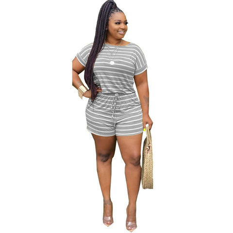 Heysweeta Casual One Piece Women Striped Romper Suit