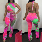 Heysweeta Multicolors printing Crop Tops and Pants Two Pieces Outifts