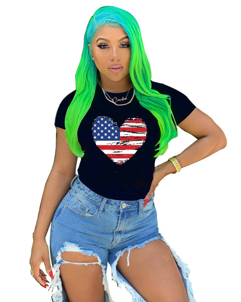 Heysweeta  National Flat T-shirt Independence Day T-shirts