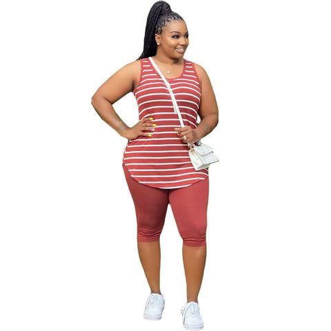 Heysweeta Striped Women Vest and Shorts Two Pieces Outfits