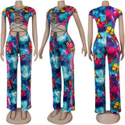 Heysweeta Women Bandage Tops Sexy Tank Tops and Pants two Pieces Butterfly Printing Outfits Night Club Outfits
