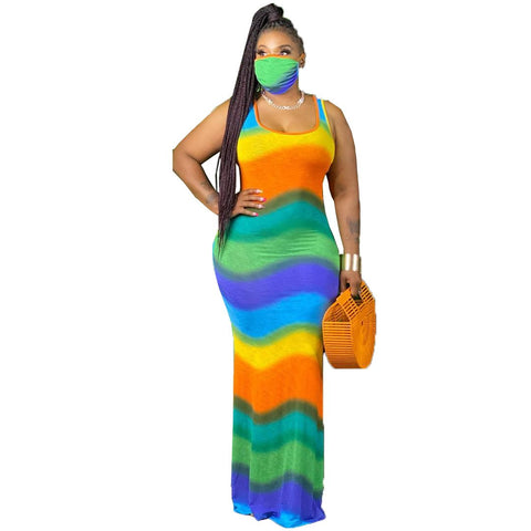 Heysweeta Striped Maxi Dress Women Casual Dres Summer Dress Women Sun Dress