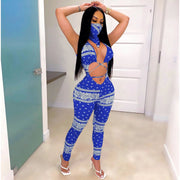 Heysweeta Sexy Bandage Jumpsuit with Face Handkerchif Two Pieces Jumpsuit