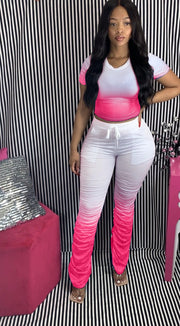 Heysweeta Gradient Printing Women Outfits Crop Tops and Folded Pants Outfits