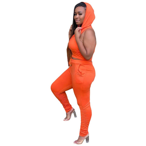 Heysweeta Hooded Neckline V-neck Crop Tops and Women Pants Two Pieces Outfits