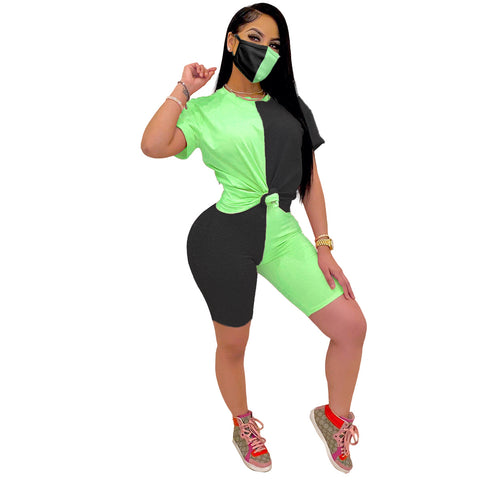 Heysweeta Pachwork women T-shirts and Shorts Set(With Face Mask)