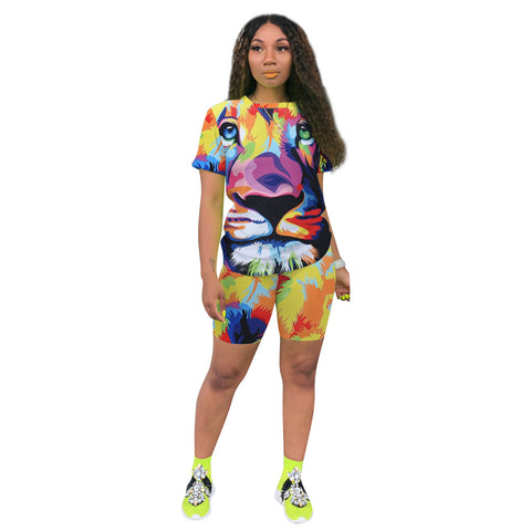 Heysweeta Three Dimensions 3D Printing Women T-shirt and shorts Outfits