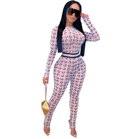 Heysweeta women Crop Tops and Sweat Pants Two Pieces Printing Jumpsuit
