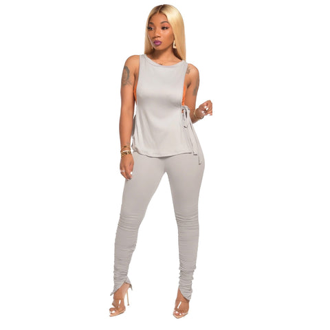 Heysweeta Sleeveless Women T-shirt and Women Pants Two Pieces Outfit