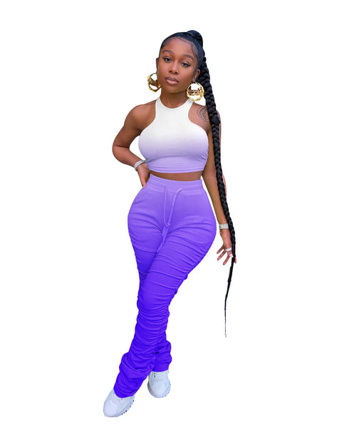 Heysweeta Sleevelesss Crop Tops and Sweat Pants Two Pieces Outfit