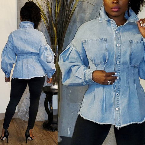 Heysweeta Women Denim Jacket Puff Sleeve Denim Women Jacket Women Outerwear