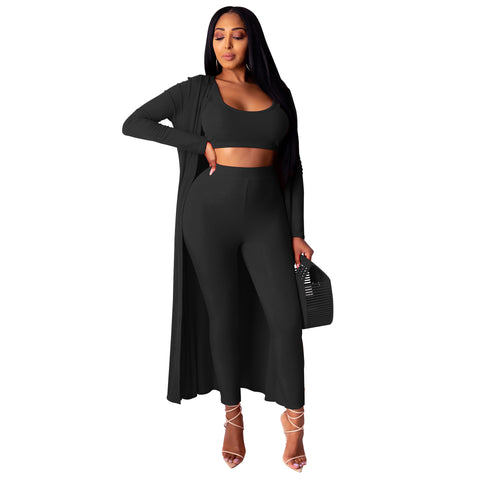 Heysweeta Three Pieces Set Women Crop Tops and women pants and Women Outerwear 3 pieces Outfit
