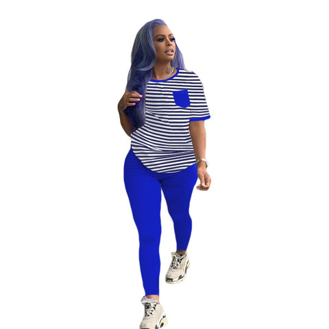 Heysweeta Women  Stripeed T-shirt and Women Pants two Pieces Outfit