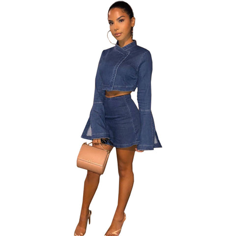 Heysweeta Women Crop Tops and MIni Skirt Two Pieces Denim Dress