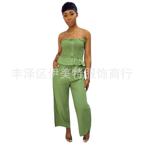 Heysweeta Women Outfit Crop Tops Strapless Tops Tank Tops and Wide Leg Pants Two Pieces Outfit