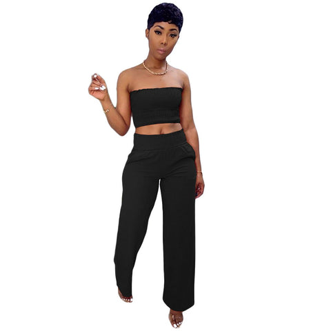 Heysweeta women Chest Wrap and Wide Leg Pants Two Pieces Outfit