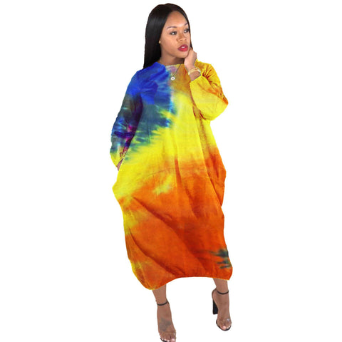 Heysweeta Colors Printing Women Dress Midi Dress Cocoon Shape Casual dRess