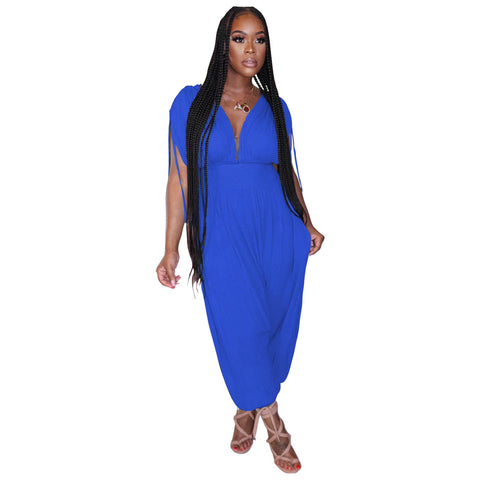 Heysweeta Women Jumpsuit V-neck Summer Jumpsuit Casual Jumpsuit One Piece Jumpsuit
