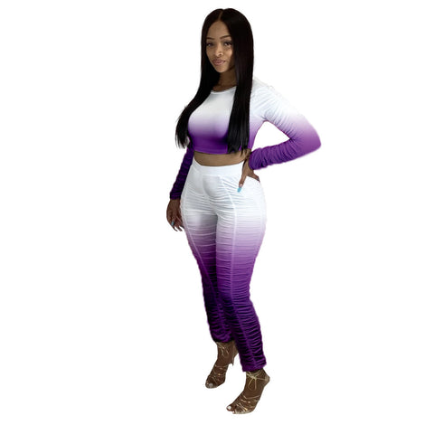 Heysweeta Womeon Crop Tops Long Sleeves Tops and Pants Two Pieces Outfits