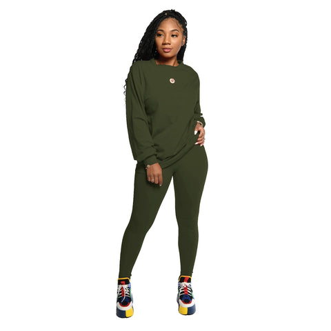 Heysweeta Women Long Sleeves Hoodie and Sweat Pants Two Pieces Sweatsuit Women Outfit