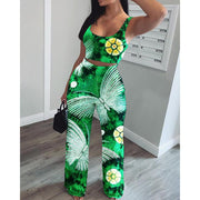 Heysweeta Colors Printing Outfit Women Tank tops and Wide Leg Pants Two Pieces Outfits