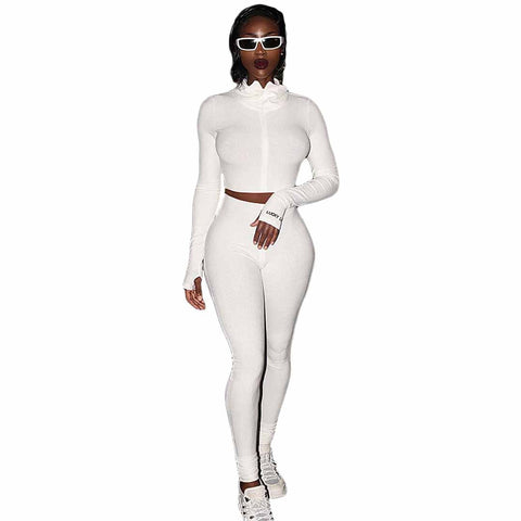 Heysweeta Women Crop Tops and Skinny Pants Two Pieces Autumn Outfit