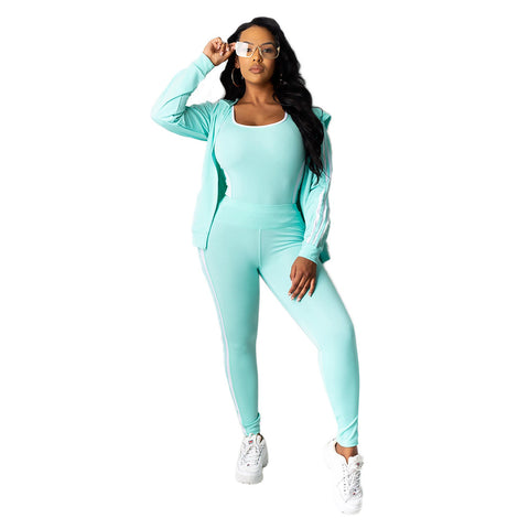Heysweeta Three Pieces Women Sweatsuit Women Tank tops and Sweat Pants and Outerwear 3 Pieces Set