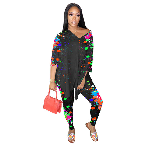 Heysweeta Women Outfits At-home outfits Multicolors Printing Womne Outfits