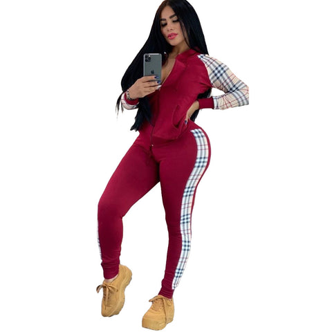 Heysweeta Women Outfit Patchwork Outfit US Women two Pieces Outfit