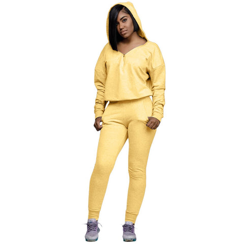 Heysweeta Women Hoodie and Sweat Pants Two Pieces Autumn Outfit