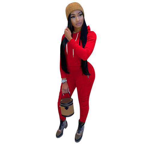 Heysweeta 2020 Women Autumn Outift Winter Sweatsuit String Hoodie String Sweat Pants Two Pieces Outfit