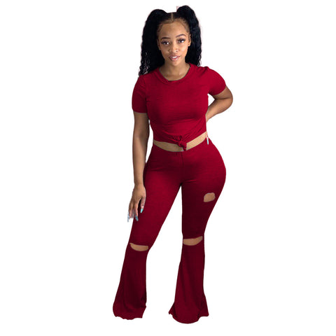 Heysweeta Yoga T-shirt Yoga Pants Two Pieces Yoga Outfit Women Outfit Summer Outfit