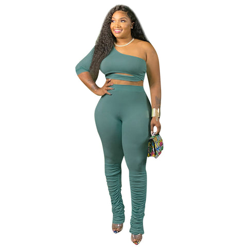 Heysweeta Women One Sleeves Tops and Pants Two Pieces Plus Size Outfits