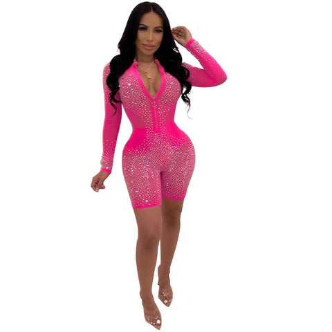 Heysweeta V-neck romper Night Club romper Rehinestones Decorated Romper Sexy Romper