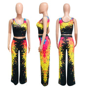 Heysweeta Printing Women Tank Tops and Wide Leg Pants Two Pieces Outfits