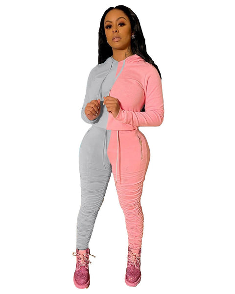 Heysweeta Women Patchwork Hoodie and String Pants Two Pieces Outfit US Women Outfit
