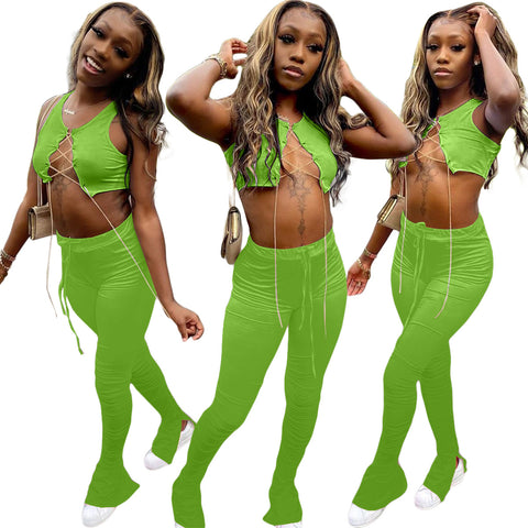 Heysweeta 2020 Summer Outift Crop tops Bandage Tops and Split Pants Two Pieces Outfit