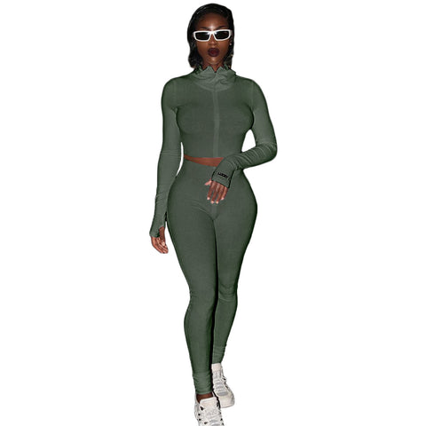 Heysweeta  Autumn Tops Crop tops and Skinny Pants Two Pieces Sweatsuit