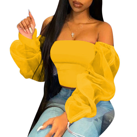 Heysweeta Women Tops Slash Neckline Women tops Puff Sleeves Women Tops