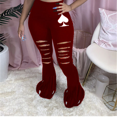 Heysweeta women Pants Broken Holes Pants Black Heart Printing Pants