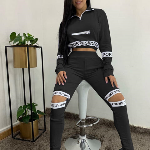 Heysweeta Women Crop Tops and Broken Holes Pants Two Pieces Outfit