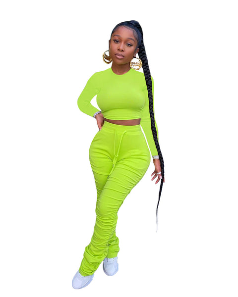 Heysweeta women Crop Tops and folded Pants Two Pieces Outfit
