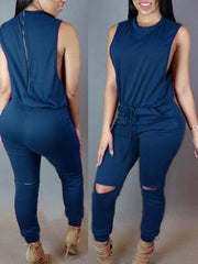 Sleeveless Hellow Out Tiecord Jumpsuit