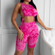 Heysweeta Bandage Tops and Knee Length Short Women Two Pieces Outfits