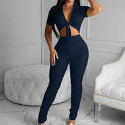 Heysweeta V-neck Crop Tops and Sweat Pants Two Pieces Outfits
