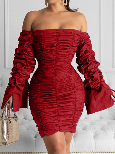Heysweeta 2020 Winter Women Dress Mini Dress Folded Sleeves Mini Dress